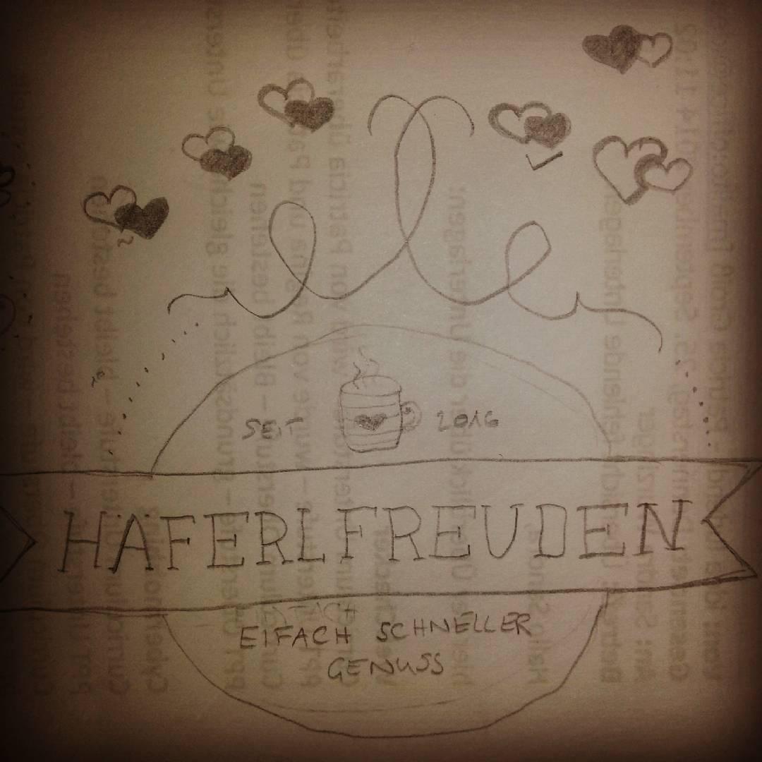 Das handgezeichnete Logo für die erste eigene Häferlserie. Naja, da muss ich wohl noch etwas üben. Mehr als die Herzerl rundherum wird es geben, aber noch nicht verraten